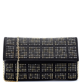 PPC5220 Stud Accent Flap Clutch Black