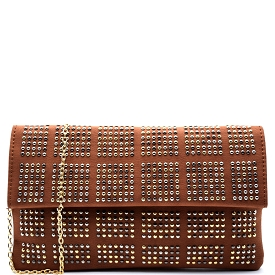 PPC5220 Stud Accent Flap Clutch Camel
