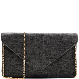 PPC5277 Linen Envelope Clutch Black