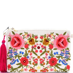 PPC5306 Thread Tassel Flower Embroidery Clutch Ivory