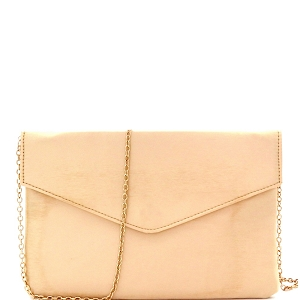 PPC5363 Satin Simple Envelope Clutch Nude