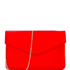 PPC5363 Satin Simple Envelope Clutch Red