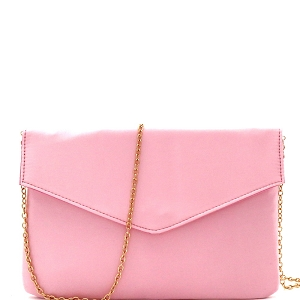 PPC5363 Satin Simple Envelope Clutch Pink