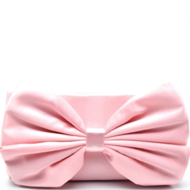 PPC5365 Large Bow Accent Satin Clutch Pink