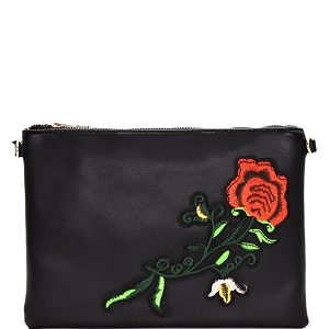 PPC5376 Rose Flower Embroidery Clutch Black