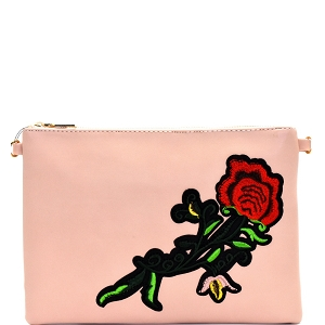 PPC5376 Rose Flower Embroidery Clutch Nude