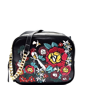 PPC5403 Flower Embroidery Satin Camera Bag Style Cross Body Black