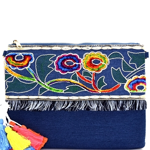 PPC5474 Colorful Thread Tassel Bohemian Embroidery Denim Clutch Dark-Blue