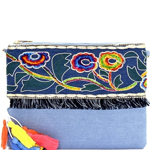 PPC5474 Colorful Thread Tassel Bohemian Embroidery Denim Clutch Light-Blue