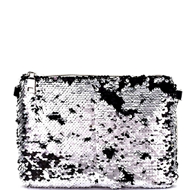 PPC5555 Allover Sequin Sparkle Clutch Silver