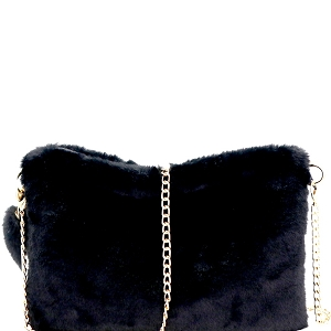 PPC5582 Faux-Fur Large Clutch Black