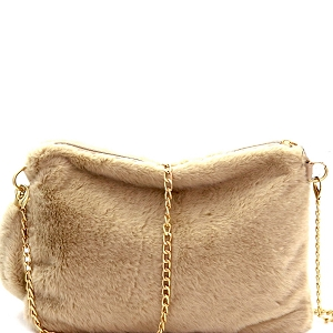 PPC5582 Faux-Fur Large Clutch Beige