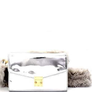 PPC5588 Faux-Fur Strap Accent Metallic Flap Shoulder Bag Silver