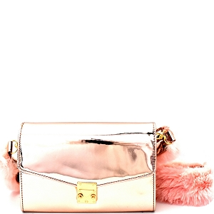 PPC5588 Faux-Fur Strap Accent Metallic Flap Shoulder Bag Rose-Gold