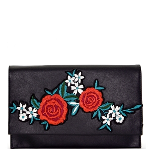 PPC5605 Flower Embroidery Flap Clutch Black