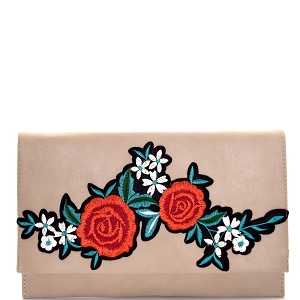 PPC5605 Flower Embroidery Flap Clutch Khaki