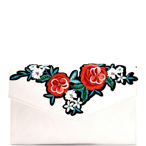 PPC5606 Flower Embroidery Envelope Clutch Ivory