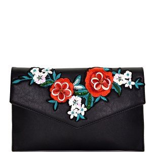 PPC5606 Flower Embroidery Envelope Clutch Black