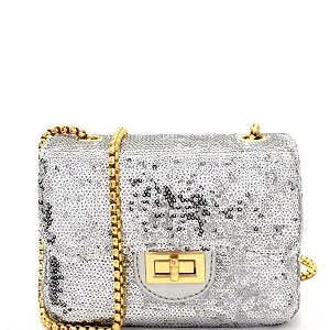 PPC5621 Allover Sequin Embellished Small Shoulder Bag Silver