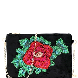 PPC5637 Sequin Embellished Flower Accent Faux-Velvet Clutch Black