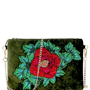 PPC5637 Sequin Embellished Flower Accent Faux-Velvet Clutch Olive