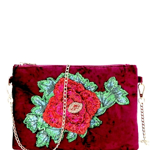 PPC5637 Sequin Embellished Flower Accent Faux-Velvet Clutch Burgundy