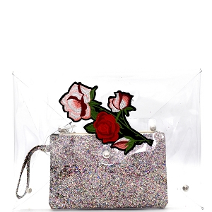 PPC5701 Flower Embroidered Oversized 2 in 1 Clear Clutch with Glitter Wristlet