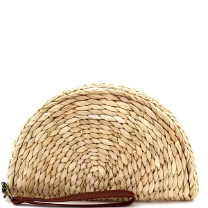 PPC5921 Handmade Natural Woven Straw Half Moon Wristlet Boho Clutch Ivory