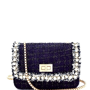 PPC6060 Pearl Embellished Tweed Turn-Lock Shoulder Bag Navy