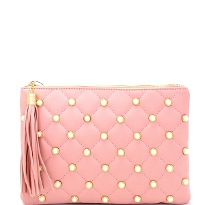 PPC6079 Pearl Embellished Tassel Accent Quilted Clutch Pink