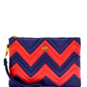 PPC6188 Zig Zag Color Block Clutch with Bee Charm Navy
