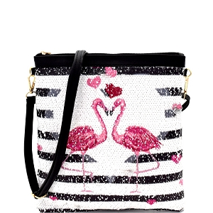 PPC6304 Flamingo Heart Print Striped Sequin Cross Body