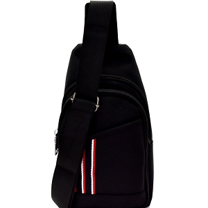PPC6403 Canvas Unisex Multi-Pocket Organizer Cross Body Sling Bag Black