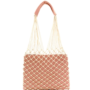 PPC6432 Unique Net Cutout 2 in 1 Hobo Pink