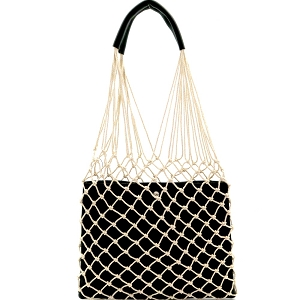 PPC6432 Unique Net Cutout 2 in 1 Hobo Black