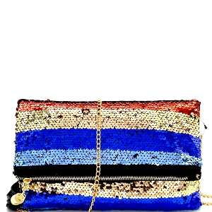 PPC6458 Multi-colored Sequin Tassel Fold-over Clutch