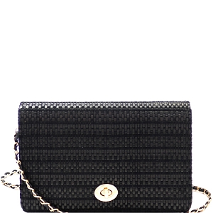 PPC6612 Woven Straw Turn-Lock Flap Shoulder Bag Black