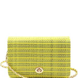 PPC6612 Woven Straw Turn-Lock Flap Shoulder Bag Yellow