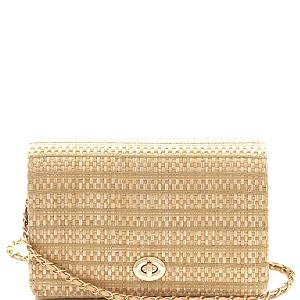 PPC6612 Woven Straw Turn-Lock Flap Shoulder Bag Beige