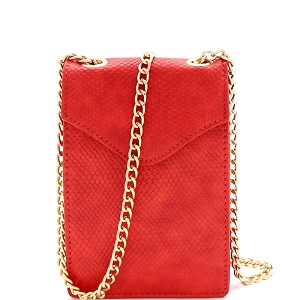 PPC6722 Lizard Pattern Chain Strap Cellphone Holder Cross Body Red