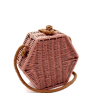 PPC6731 Handwoven Natural Straw Hexagon Boxy Shoulder Bag Crossbody Pink