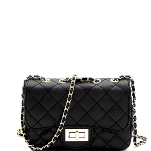 PPC6734 Quilted Turn-Lock Chain Cross Body Shoulder Bag Black
