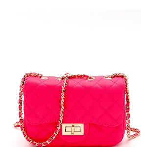 PPC6734 Quilted Turn-Lock Chain Cross Body Shoulder Bag Neon-Pink