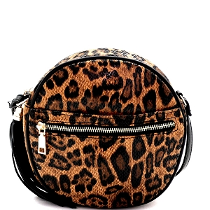 PPC6742 Tassel Accent Leopard Print Round Cross Body Shoulder Bag