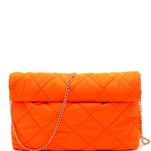 PPC6763 Quilted Nylon Roll-Up Clutch with Chain Strap Neon-Orange