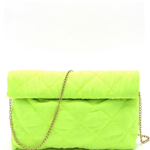 PPC6763 Quilted Nylon Roll-Up Clutch with Chain Strap Neon-Yellow