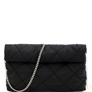 PPC6763 Quilted Nylon Roll-Up Clutch with Chain Strap Black