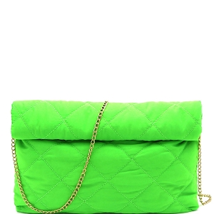 PPC6763 Quilted Nylon Roll-Up Clutch with Chain Strap Neon-Green