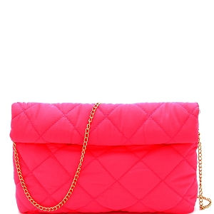 PPC6763 Quilted Nylon Roll-Up Clutch with Chain Strap Neon-Pink