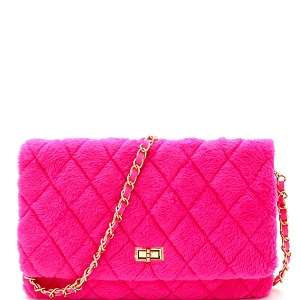 PPC6764 Quilted Faux Fur Turn-Lock Chain Cross Body Shoulder Bag Neon-Pink
